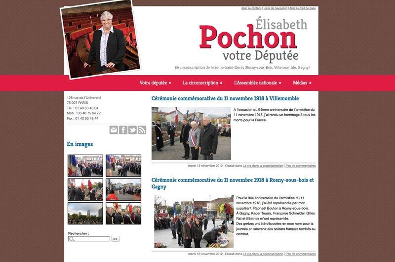 Capture d'écran du site d'Élisabeth Pochon